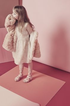 Cool kids styling by Deborah Sfez in this pink themed girls fashion shoot for Collezioni Bambini magazine for fall 2015