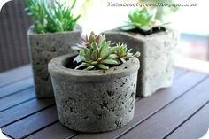 DIY hypertufa planters---mix portland cement, perlite and moss; cure. add plants.