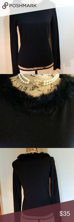 Liz Claiborne Access sweater. Black sweater. With fake fur around the neck. Liz Claiborne Sweaters Crew & Scoop Necks