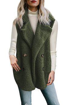 Womens Fleece Open Front Coat Pockets Outerwear Jacket Buttons d4a9898f3