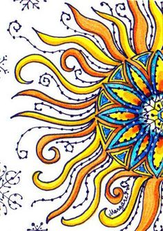 I love art that included symbolic suns. Winter Sun Don't know who is the artist. Celestial Art, Moon Art, Sun Painting, Drawings, Doodle Art, Hippie Art, Sun Art, Art Journal, Mexican Folk Art