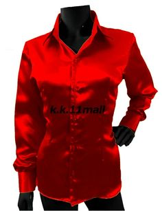 Red Color Long Sleeve Shirt Casual / Party Wear Button Down Shirt Satin Green Long Sleeve Shirt, Long Sleeve Tops, Long Sleeve Shirts, The Office Shirts, Shirts For Girls, Casual Office Wear, Casual Wear, Shirt Collar Styles, Satin Shirt