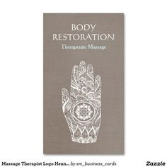 Massage Therapist Logo Henna Lotus Tattoo Hand 3 Double-Sided Standard Business Cards (Pack Of 100) #businesscards