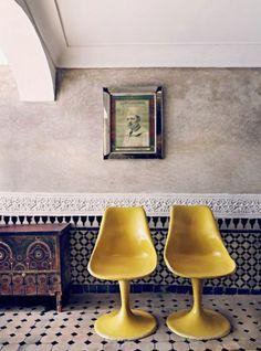 mustard yellow vintage chairs. / sfgirlbybay