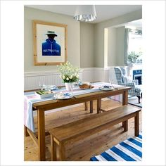 Country Style dining room with Blue and White Rug