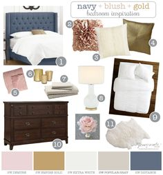 Navy + Blush + Gold Bedroom Inspiration & Tips for Discovering Your Style || Love, Pomegranate House
