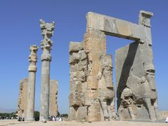 The ancient ruins of the the city of Persepolis, Iran. Built around 500 BC by Darius I, this incredible city once served as the ceremonial capital of the Achaemenid Empire.  It was a huge undertaking of art and architecture.  Today all that remains are the city's ruins, but it is still one of Iran's most famous archaeological finds and has been listed as a UNESCO Site.