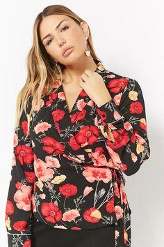8e7197a314e Plus Size Floral Surplice Wrap Top