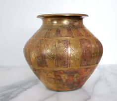 Brass and Copper Etched Vase or Jar by PursuingVintage1 on Etsy #ETSY