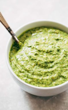 5 Minute Magic Green Sauce - this sauce goes with anything as a dip, dressing, marinade, or spread! Easy ingredients like avocado, parsley, cilantro, garlic, and lime. Vegan!