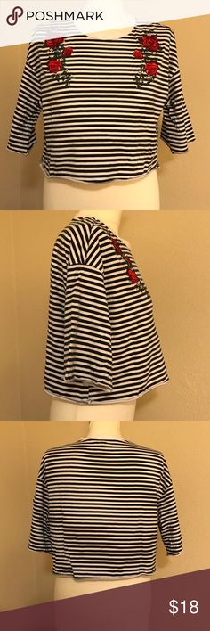 H&M Striped Crop Top 🌹 Adorable striped crop top. Embroidered rose design on front. Great condition. H&M Tops Crop Tops