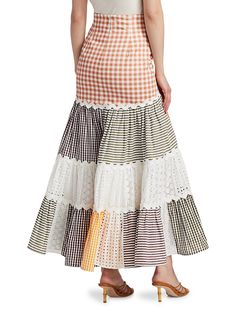 Traditional Skirts, African Fashion Skirts, Gingham Skirt, Feminine Style, Midi Skirt, Cool Outfits, Couture, Womens Fashion, Clothes