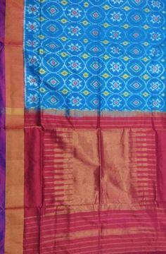 Blue Handloom Ikat Pure Silk  Saree