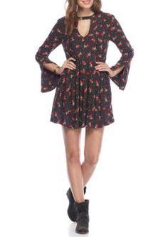 Free People Black Combo Tegan Printed Mini Dress