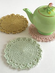 Worked in a range of delicate shades and with a touch of sparkle at the edges, these elegant coasters turn an afternoon tea break into a glamorous occasion.