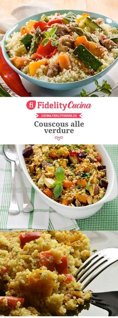 Couscous alle verdure Couscous, Healthy Cooking, Cooking Recipes, Polenta, Orzo, Antipasto, Vegan, Fried Rice, Quinoa