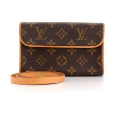 Pre-Owned Louis Vuitton Pochette Florentine Monogram Canvas Waist Bag... ($370) ❤ liked on Polyvore featuring bags, brown, hardware bag, checked bag, belt bag, canvas waist bag and fanny pack bags
