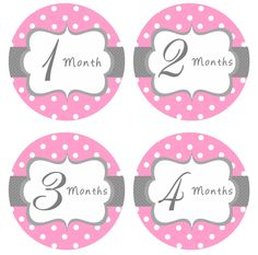Baby Month Stickers Baby Girl Monthly Onesie Stickers Hot Pink Grey Onesie Stickers Month Stickers Baby Shower Gift Photo Prop - Jenna-R. $10.00, via Etsy.