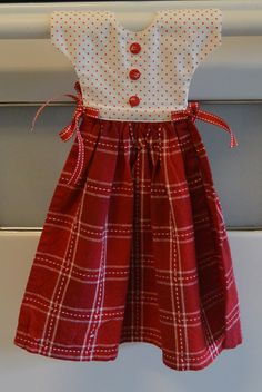 Kitchen Towel Dress Red and White by SewYoungAtHeart on Etsy