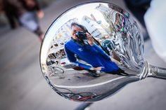 Moped side-mirror reflection, Zurich, Switzerland.