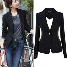 2015 Fashion Women's One Button Slim Casual Business Blazer Suit Jacket Coat Outwear