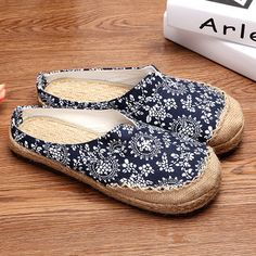 Hot-sale Dargon Flower Print Flax Open Heel Color Match National Wind Slip  On Flat Shoes - NewChic Mobile.