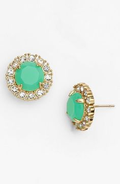 Great gift for Mother's Day! Mint and crystal stone stud earrings | Kate Spade