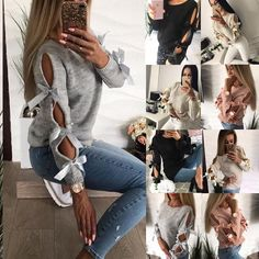 Fitted Prom Dresses, new women bow hollow out longsleeve warm sweater pullover knitting bow loose o neck tops blouse knitwear Bey Love Loose Sweater, Long Sleeve Sweater, Long Sleeve Tops, Warm Sweaters, Pullover Sweaters, Jumper, Bow Blouse, Types Of Sleeves, Knitwear