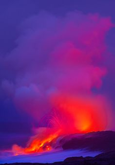 this one is from the Big Island of Hawaii. If you have never seen the volcano and lava on the island it is incredible. This was taken before sunrise happened. Hawaii Volcanoes National Park, Volcano National Park, National Parks, Parc National, All Nature, Amazing Nature, Volcan Eruption, Beautiful World, Beautiful Places