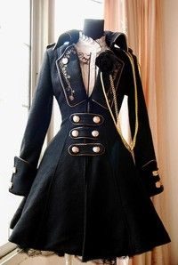 Prince aristocrat style winter coat with golden embroidery, golden buttons, and a rose corsage. Avai