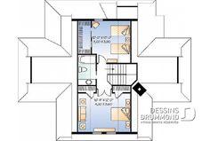 Étage - Plan de Chalet idéal pour le ski et offrant vue panoramique, 3 chambres, espace ouvert, grande terrasse - Louisia 2