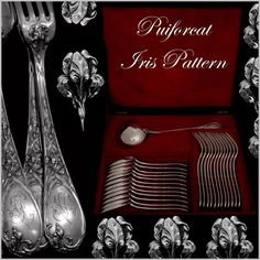 PUIFORCAT French Sterling Silver Dinner Flatware Set 25 pc Iris w/boxHead of Minerve 1 st titre for 950/1000 French Sterling Silver guarantee The set