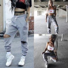 New Fashion Women s Knee-Rips Sweat Pants Harem Streetwear Hip Hop Dance  With Drawstring Moda cb8b9b4e2e1
