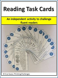 Reading task cards for fluent readers/ reading task cards early finishers/ reading task cards fun activities/ reading task cards upper elementary/ not grade specific/ homework ideas/ Critical Thinking Activities, Critical Thinking Skills, Reading Activities, Classroom Activities, Fun Activities, Math Literacy, Literacy Centers, Reading Task Cards, Homework Ideas