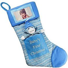 First Christmas Stocking Baby Boy Stocking With Removable Soft Toy With Picture Frame - Personalize It With BabyS Picture Blue,,Christmas Day Products,Gifts Products Baby's First Christmas Stocking, Cute Christmas Stockings, Babys 1st Christmas, Christmas Stocking Fillers, Blue Christmas, Christmas 2017, Christmas Ideas, Christmas Decorations, Burlap Stockings