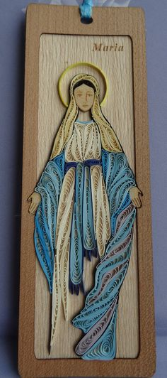 Bespoke handmade quilling bookmark. Virgin Mary, quilling paper, wooden…