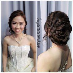 Prewedding makeup & hairdo, Korean style braided updo ❤ Bride: Sing Ei ✨