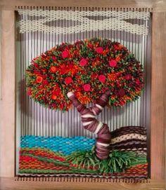 Árboles en telar 64x54 cm, marco de raulí. #likeforlike#like4like#l4l#lol#lml#lfl#selfie#happy#smile - creaciones_mamakika Woven Wall Hanging, Tapestry Wall Hanging, Textile Fabrics, Textile Art, Fibres, Tapestry Weaving, Weaving Techniques, Fabric Art, Knitting Yarn