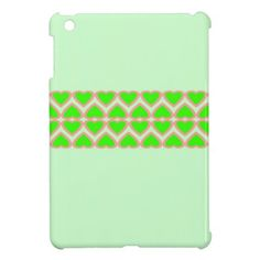 French Lime Green Hearts Mint Green Background Case For The iPad Mini by Paul Ashby