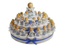 Torta con angeli in resina decorata da 38 fette #tortabomboniera #angeli #ideabomboniera #tortadibomboniere