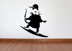 Banksy Wall Decal Surfboard Rat Inspired Removable by MaxxGraphixx