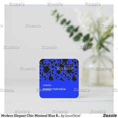 Shop Modern Elegant Chic Minimal Blue Black Floral Square Business Card created by LeonOziel. Elegant Chic, Business Cards, Card Stock, Minimalism, Stationery, Things To Come, Floral, Modern, Prints