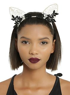 Ivory & Black Floral Cat Ear Headband,
