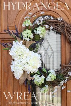 Make a Hydrangea Wreath for Spring | http://betweennapsontheporch.net/make-a-spring-hydrangea-wreath-for-your-front-door/