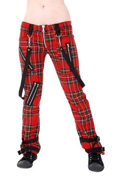Bondage belt red plaid