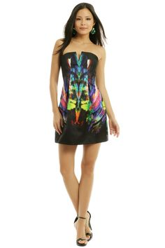 Josh Goot Black Rainbow Fossil Cocktail Dress