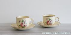 Set of 2 Rare Shabby Chic Vintage Pale Yellow Wm Hulme Royal China Tea Cups, Tea Cup Saucer, Fine China, Floral Motif, Cottage Chic, Tea Set, Blue Flowers, Tea Party, Shabby Chic