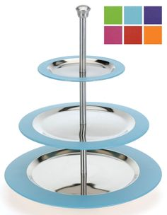 3 Tier Cake Stand Cupcake Stand Food Stand Stainless Steel with Candy Colours