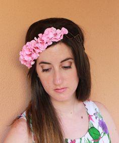 Corona de flores hortensia rosa tiara flores rosas por Lolacoqueta