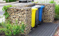 """Dieser moderne Mülltonnen-Sichtschutz aus Gabionen steht im Vorgarten unserer Fotocommunity-Userin """"Blütenfreundin"""""""